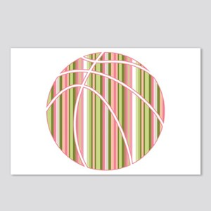 Pink and Green Striped Basketball Postcards (Packa