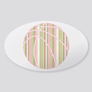 Pink and Green Striped Basketball Sticker