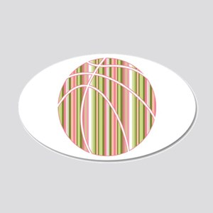 Pink and Green Striped Basketball Wall Decal