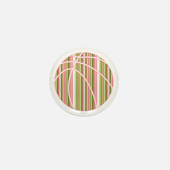 Pink and Green Striped Basketball Mini Button
