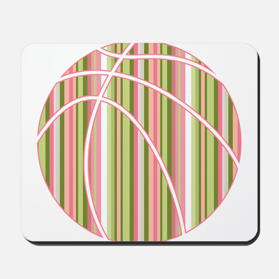 Pink and Green Striped Basketball Mousepad