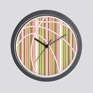 Pink and Green Striped Basketball Wall Clock