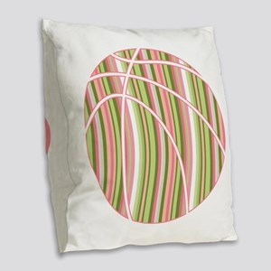 Pink and Green Striped Basketball Burlap Throw Pil