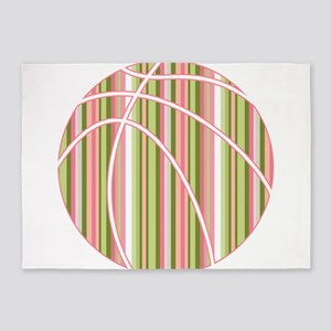Pink and Green Striped Basketball 5'x7'Area Rug