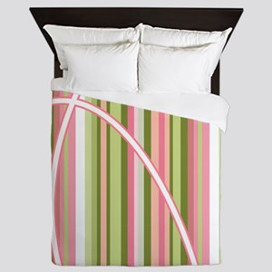 Pink and Green Striped Basketball Queen Duvet