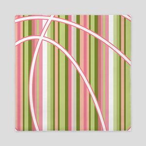 Pink and Green Striped Basketball Queen Duvet