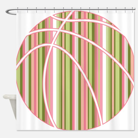 Pink and Green Striped Basketball Shower Curtain