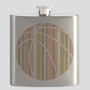 Pink and Green Striped Basketball Flask