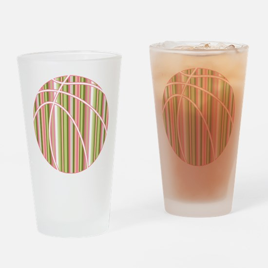 Pink and Green Striped Basketball Drinking Glass
