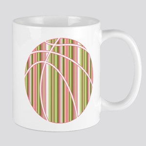 Pink and Green Striped Basketball Mugs