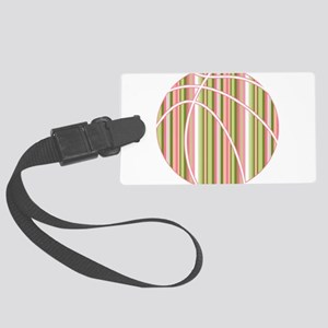 Pink and Green Striped Basketball Luggage Tag