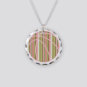 Pink and Green Striped Basketball Necklace
