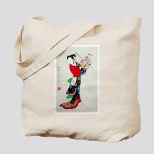Woman with Puppet Tote Bag