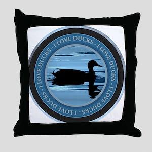 I Love Ducks Throw Pillow