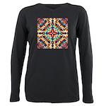 Ornate Geometric Colors Plus Size Long Sleeve Tee