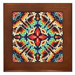 Ornate Geometric Colors Framed Tile