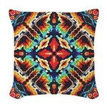 Ornate Geometric Colors Woven Throw Pillow