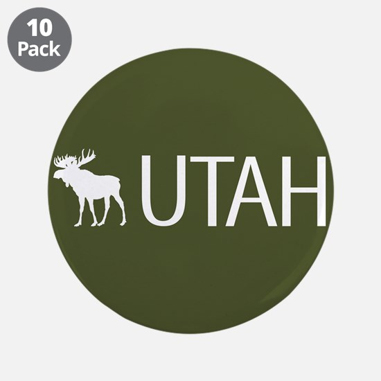 "Utah: Moose (Mountain Green) 3.5"" Button (10 pack)"