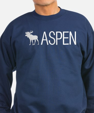 Colorado: Aspen Moose (White) Sweatshirt (dark)