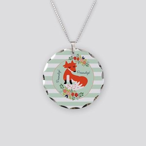 Woodland Fox, Mint Stripes P Necklace Circle Charm