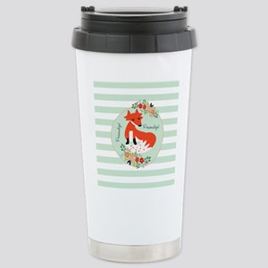 Woodland Fox, Mint Stri Stainless Steel Travel Mug