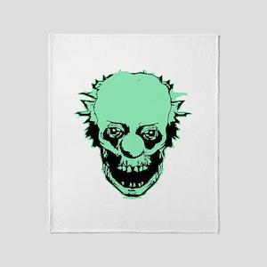 Creepy clown green Throw Blanket