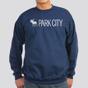 Utah: Park City Moose (White) Sweatshirt (dark)