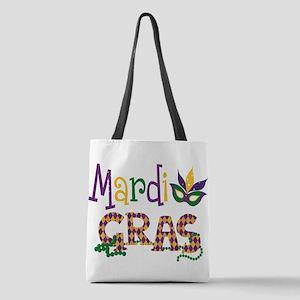 Argyle Mardi Gras Polyester Tote Bag