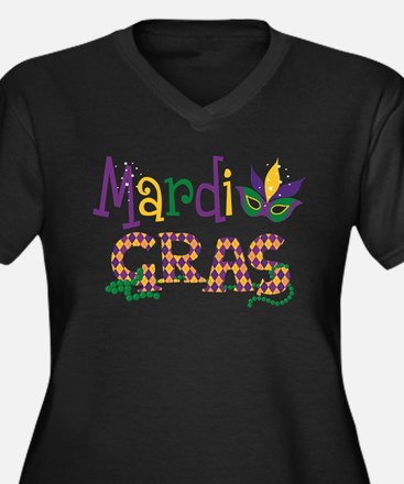 Argyle Mardi Women's Plus Size V-Neck Dark T-Shirt