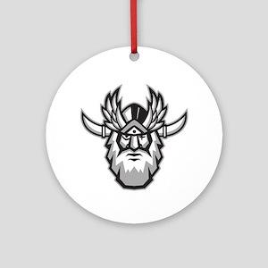 Norse God Odin Head Retro Round Ornament