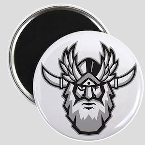 Norse God Odin Head Retro Magnets