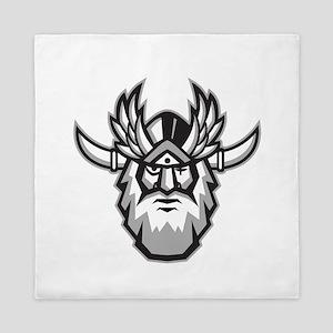 Norse God Odin Head Retro Queen Duvet