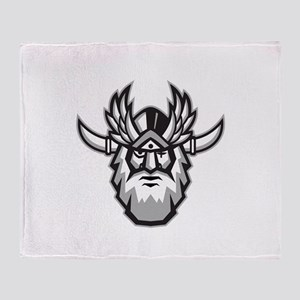 Norse God Odin Head Retro Throw Blanket