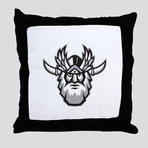 Norse God Odin Head Retro Throw Pillow