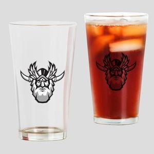 Norse God Odin Head Retro Drinking Glass