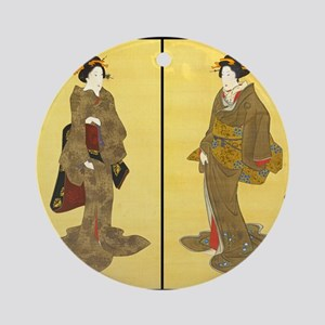 Geishas by Utagawa Round Ornament