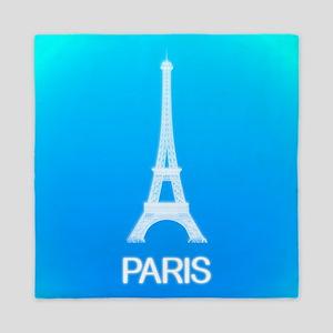 Paris: Eiffel Tower (Deep Sky Blue) Queen Duvet