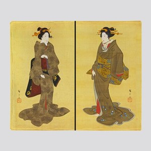 Geishas by Utagawa Throw Blanket