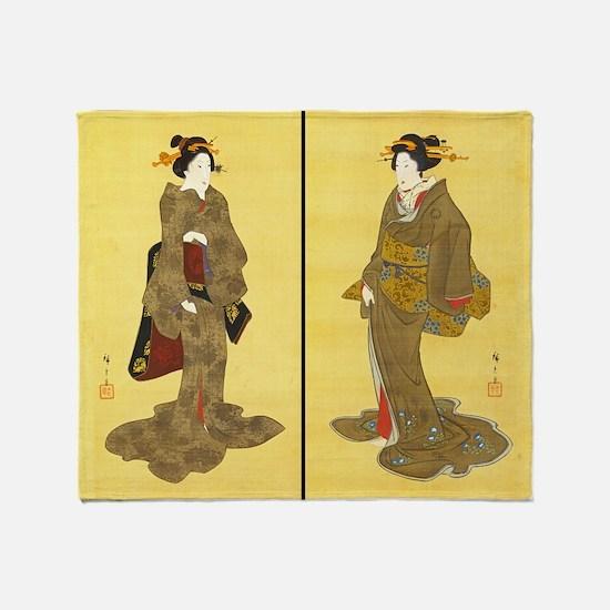 Geishas by Utagawa Throw Blanket