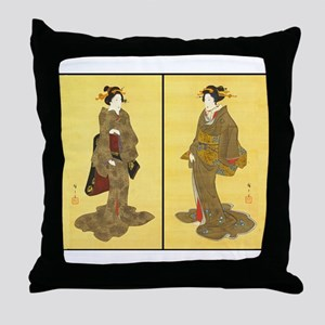 Geishas by Utagawa Throw Pillow