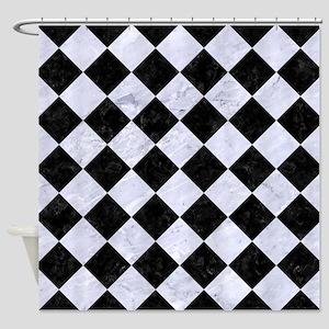 SQR2 BK-WH MARBLE Shower Curtain