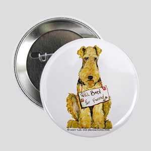 "Airedale Terrier Bark for Food 2.25"" Button"
