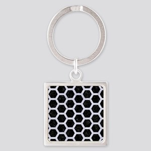 HXG2 BK-WH MARBLE Square Keychain