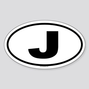 J Oval Sticker