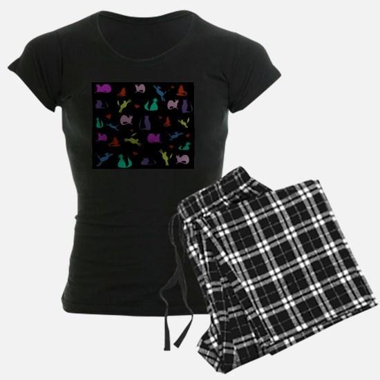 Rainbow Cats on Black Pajamas