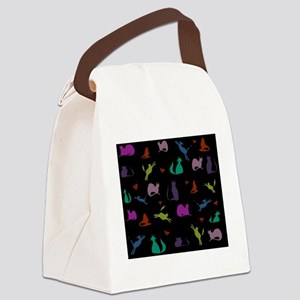 Rainbow Cats on Black Canvas Lunch Bag