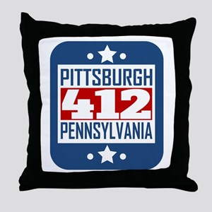 412 Pittsburgh PA Area Code Throw Pillow
