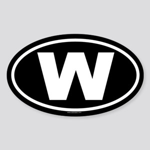 W Oval Sticker