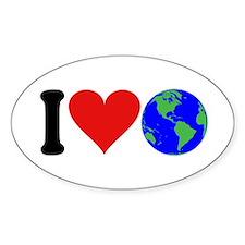 I Love Earth (design) Oval Sticker