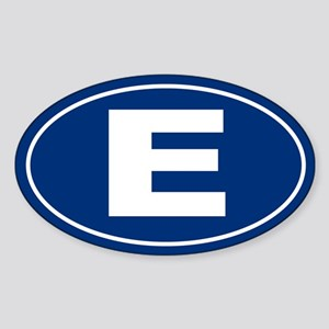 E Oval Sticker